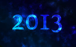2013 number on a blurred background. 2013 on a dark blue blurred background with beautiful bokeh. New year greeting Royalty Free Stock Photos