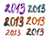 2013 Numbers. Painted in watercolor Stock Photo