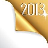 2013 nya år med det guld krullade hörnet Arkivbilder
