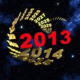2013 nya år som är främre av spiral av tid royaltyfri illustrationer