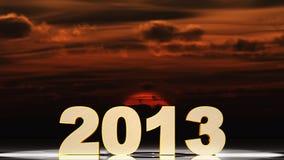 2013 och solnedgång Arkivbilder