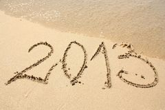 2013 op het strand Stock Foto's