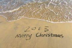 2013 op het strand van zonsopgang Stock Foto's