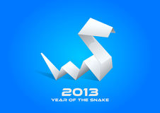 2013 Origami Snake blue. 2013 Origami Snake. Happy New Year card template. Vector. Editable Stock Illustration