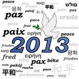 2013 peace. Concept illustration showing a peace dove over the year 2013 and the word peace written in different languages Royalty Free Stock Photography