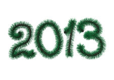 2013 pine digits. Digits 2013 from green pine branches isolated on white background Stock Photography