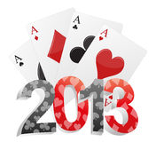 2013 poker. Illustration of 2013 text with poker cards Royalty Free Stock Photo