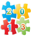 2013 puzzle. Illustration of 2013 text on pieces of puzzle Stock Photo