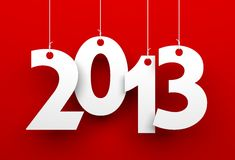 2013 on red background. New Year metaphor royalty free illustration
