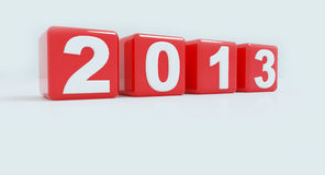 2013 in red cube. To created by 3D software royalty free illustration