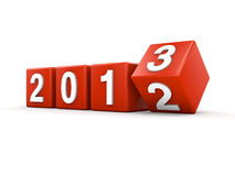 2013 on Red Cubes. 3d render Stock Photography