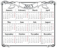 2013 retro calendar grid Stock Image