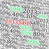 2013 sales discount info text. Graphics and arrangement Royalty Free Stock Photos