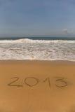 2013 scritto in sabbia Fotografia Stock Libera da Diritti