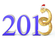 2013 Snake. Snake instead of the number three in the hat of Santa Claus stock illustration