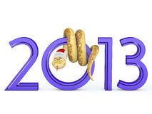 2013 Snake. The snake is wrapped with the number zero in the hat of Santa Claus stock illustration