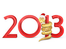 2013 Snake. Snake wrapped around  digit one on a white background Stock Photo