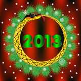 2013 with Snake and Firtree. Vector. Royalty Free Stock Images
