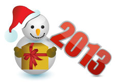 2013 snowman sign. Illustration design over white Stock Photos