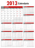 2013 Spanish Calendar Template Royalty Free Stock Photography