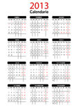 2013 Spanish Calendar Template Royalty Free Stock Image