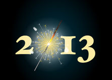2013 sparkler. 2013 banner with the zero being depicted by a glowing sparkler. Also available in vector format royalty free illustration