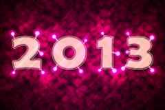 2013 with sparkles. Text 2013 with sparkles on purple background Stock Photography