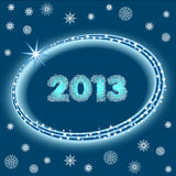 2013 with stars and snowflakes Royalty Free Stock Images