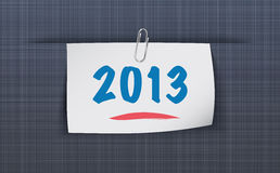 2013 on sticky attached to the linen texture Stock Photography