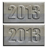 2013 stone tablet convex and concave. Stone tablet with 2013 in convex and concave relief Royalty Free Stock Image
