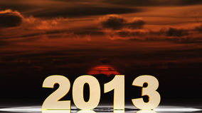 2013 and sunset. Text 3d 2013 gold texture. Futuristic sunset royalty free illustration