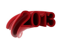 2013 text. 3d render on white Royalty Free Stock Photography