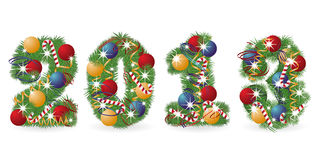 2013 Tree font with Christmas ornaments. Vector illustration stock illustration