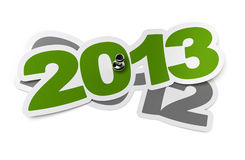 2013 - two thousand thirteen. Green sticker over 2012 two thousand twelve, white background with shadow and thumbtack royalty free illustration