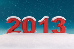 2013 under the snow. 3d illustration Royalty Free Stock Images