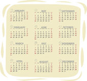 2013 vector calendar. Full editable 2013 vector calendar with zodiac signs Royalty Free Stock Photography