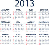 2013 vector calendar. Simple full editable 2013 vector calendar - weeks start Sunday Stock Photos