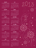 2013 vector calendar with flowers Royalty Free Stock Images