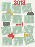 2013 vintage style calendar. A retro style wall calendar for 2013 vector illustration