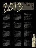 2013 wine themed calendar. A black wine themed calendar for 2013 stock illustration