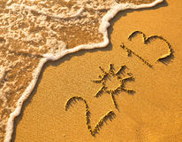 2013 written in sand on beach texture Royalty Free Stock Image