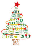 2013 xmas tree. Illustration of xmas tree with 2013 text year Royalty Free Stock Photography
