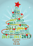 2013 xmas tree. Illustration of xmas tree with 2013 text year Royalty Free Stock Photos
