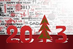 2013 year. 2013 new year with a Christmas tree cut out of paper. Eps 10 Stock Photos