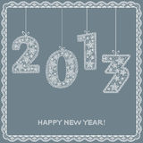 2013 year. Happy new year! 2013 lace ribbon New year poster Stock Photography