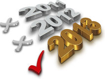 2013 year. Check icon with the number of gold 2013 on a white background vector illustration