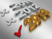 2013 year. Check icon with the number of gold 2013 on a metal background stock illustration