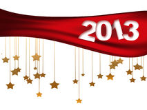 2013 year. 2013 figures on the Christmas background with stars stock illustration