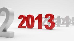 2013 year. 3d illustration of 2013 year on white background. Soft focus Stock Photos