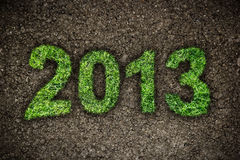 2013 year. 2013 New Year sign of green grass over dark ground. Eco concept Stock Photography
